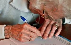 Octagenarian PLaywrights wanted: Photo from The Independent newspaper