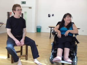 Rosaleen and Fergus receiving feedback