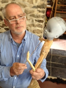 Phillip Zarrilli with one of Mick O'Shea's puppets