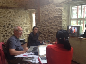Phillip, Sunhee and Jeungsook working from the video of their improvisation