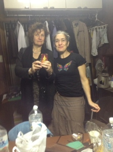 Joanna and O'Reilly backstage at Babylon Theatre Tokyo