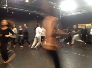 Warm-up in Okamura Yurijo's workshop, Theatre Babylon Tokyo