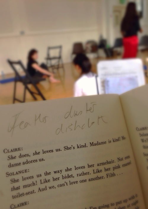 'Playing the Maids' rehearsal from Adrian Cirtain's point of view