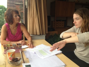 Jean St Clair and Sophie Stone working on 'Woman of Flowers'