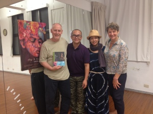 Phillip Zarrilli, Alex Cheung and Faye Leong, co-artistic directors of Mobius Strip Theatre, Taipei
