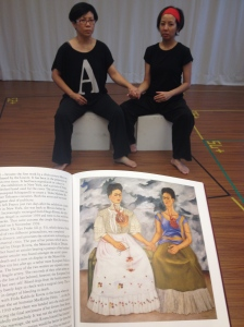 Bobo Fung and Faye  Leung in 'The Two Fridas' pose in rehearsals for 'The 9 Fridas'.