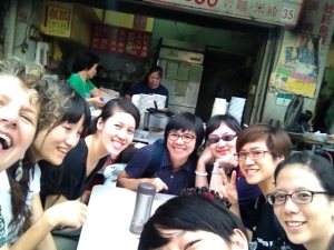 Dinner on taipei street between creative writing workshop and a public talk