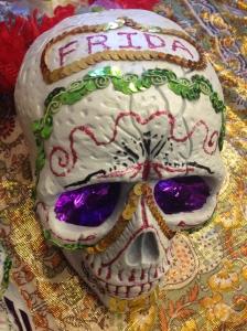 YY's version of Frida's Day of the dead sugar skull. The 9 Fridas, Taipei.