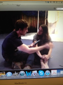 Attending rehearsals of 'Woman of Flowers' by skype.