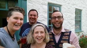 Bethan Marlowe, Jon Gower, Fflur Dafydd, Dafydd James outside Ty Newydd