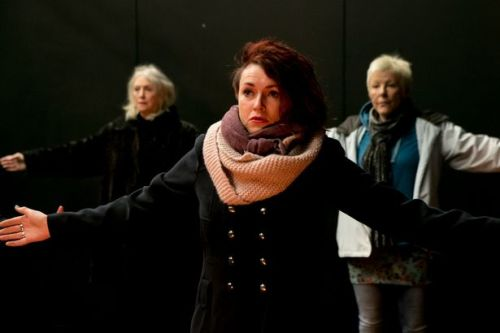 Sharon Morgan, Ruth Lloyd and Ri Richards in 'Cosy' rehearsals. Image: Farrows Creative